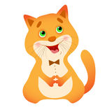 Picture singing cartoon cat in the bow tie. Stock Photo
