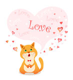 Picture singing cartoon cat and bubble for your text in heart shape. Royalty Free Stock Images