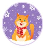 Picture singing cartoon cat in a red striped scarf amid snowflakes. Royalty Free Stock Images