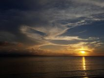Picture of sky and sea coast at sunset. In evening Stock Photography