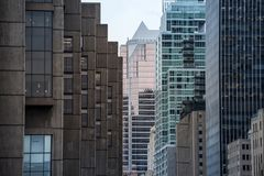 Business skyscrapers in the downtown of Montreal, Canada, taken in the center business district of the main city of Quebec. Picture of skyscrapers during a royalty free stock photos