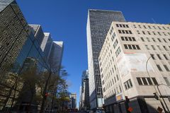 Business skyscrapers in the dowtown of Montreal, Canada, taken in the center business district of the main city of Quebec. Picture of skyscrapers during a cold royalty free stock images