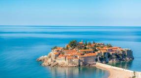 Saint Steven. Picture of small island in montenegro Saint Steven, taken from Milocer Royalty Free Stock Photo