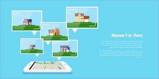 House for rent. Picture of a smartphone with house icons, house for rent, house selection concept, flat style illustration Stock Photography