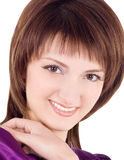 Picture of smiling brunette over white Royalty Free Stock Photos
