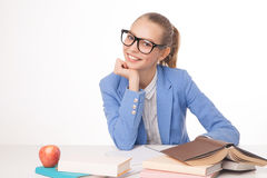 Picture of smiling student with books. Isolated Royalty Free Stock Photos