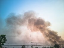 Picture of smoke caused by burning agricultural crops stock image