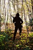 Soldier silhouette in the forest. A picture of a soldier silhouette in the forest in New Hampshire Royalty Free Stock Photos