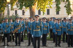 Serbian Army Band in formal uniform and position waiting to perform during a ceremony in the Belgrade French Embassy. stock images