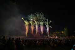 The fireworks with silhouette of audience royalty free stock images