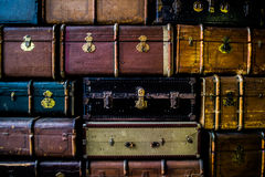 Vintage travel suitcases royalty free stock image