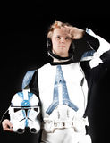 Picture of spaceman. Picture of handsome spaceman in studio Royalty Free Stock Photography