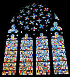 Picture on stained glass in the church Royalty Free Stock Photography