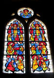 Picture on stained glass in the church Stock Photos
