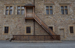 Picture of stairs to beautiful castle in Sanok. Picture of stairs to beautiful castle in Sanok Stock Images