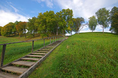 Picture of stairs to the hill in Dubingiai, near Vilnius in Lith Stock Photos