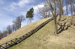 Picture of stairs to the hill in Veliuona, in Lithuania Royalty Free Stock Image