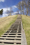 Picture of stairs to the hill in Veliuona, in Lithuania Royalty Free Stock Photography