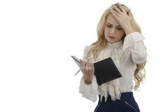 Picture of stressed woman with clipboard isolated on white backg Royalty Free Stock Photo