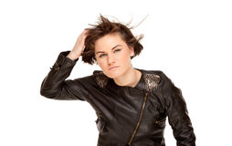 Picture of stylish woman with fluttering hair Royalty Free Stock Images