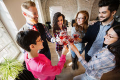 Picture of successful business team having celebration. In office Royalty Free Stock Image