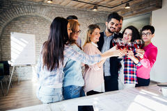Picture of successful business team having celebration. In office Royalty Free Stock Photos
