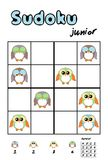 Picture sudoku with cute owls. Answer included. Picture sudoku with cute owls for children education. Answer included royalty free illustration