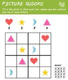 Picture sudoku game with basic shapes. Logic educational game. Kids activity sheet vector illustration
