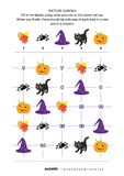Picture sudoku puzzle with Halloween icons vector illustration