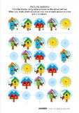 Picture sudoku puzzle with spring birdhouses Royalty Free Stock Photo