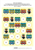 Picture sudoku puzzle with train cars and teddy bear Stock Images