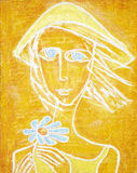 Picture of sunny blue-eyed girl with blue flower. Abstract acrylic painting. royalty free stock image