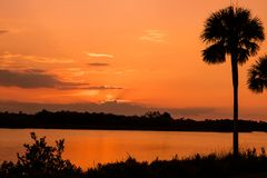 Sunset over the intercoastal waterway royalty free stock photography