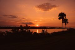Sunset over the intercoastal waterway stock photos