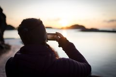 Picture in picture sunset royalty free stock photos