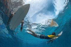 Picture of Surfing Under Water Royalty Free Stock Image