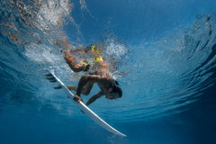 Picture of Surfing a Wave.Under Water Picture. Royalty Free Stock Photos