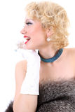 Picture of surprised woman with fur Royalty Free Stock Image