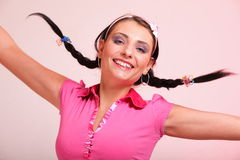 Picture of surprised woman hair in pigtail Royalty Free Stock Photo