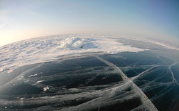 Picture taken by the action camera. Fish-eye lens. Panorama of the frozen ice of Lake Baikal Stock Images