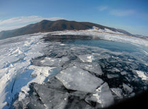 Picture taken by the action camera. Fish-eye lens. Panorama of the frozen ice of Lake Baikal Stock Image