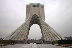 Picture taken of  Azadi tower from Azadi square. Azadi tower in  Azadi Square on december Royalty Free Stock Image