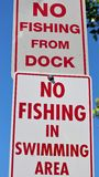 No fishing from dock sign stock photography