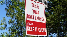This is your boat launch sign Stock Photos