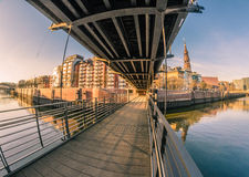 Speicherstadt, Hamburg. Picture taken on one of the hundreds bridges of Hamburg, Germany. This is one of the most characteristic areas of the city stock photo