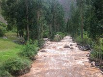 Brown river flowing peru Royalty Free Stock Photography