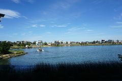 Lake at a hotel in Australia stock photography