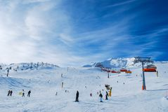 People enjoying sunny ski day Solden Austria Stock Images