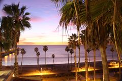 Longe exposure of beach at nighttime stock images