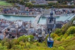 Top view of Dinant, Belgium stock photography
